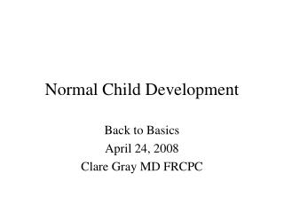 Normal Child Development