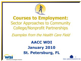 Courses to Employment: Sector Approaches to Community College/Nonprofit Partnerships Examples from the Health Care Fiel