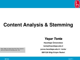 Content Analysis & Stemming