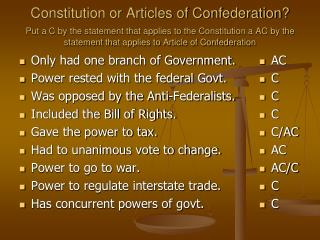 Only had one branch of Government. Power rested with the federal Govt.