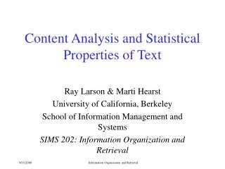 Content Analysis and Statistical Properties of Text