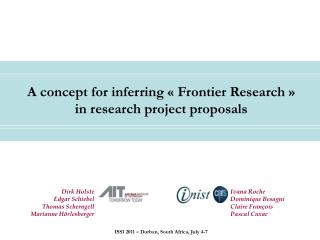 A concept for inferring « Frontier Research »    in research project proposals
