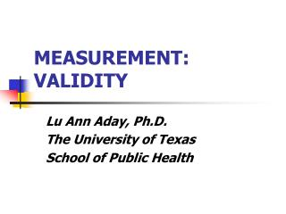 MEASUREMENT:   VALIDITY