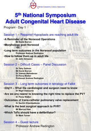 5 th  National Symposium   Adult Congenital Heart Disease
