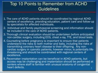 Top 10 Points to Remember from ACHD Guidelines