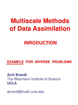Multiscale Methods of Data Assimilation
