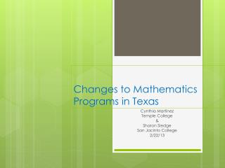 Changes to Mathematics  Programs in Texas