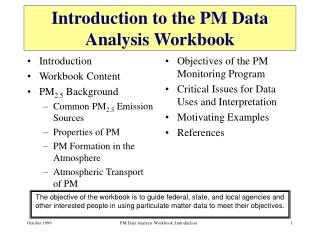 Introduction to the PM Data Analysis Workbook