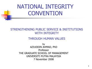 NATIONAL INTEGRITY CONVENTION