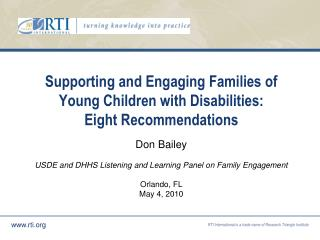 Supporting and Engaging Families of Young Children with Disabilities: Eight Recommendations