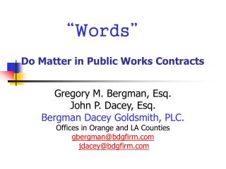 """Words"" Do Matter in Public Works Contracts"