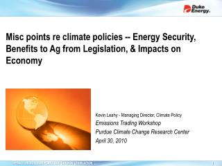 Kevin Leahy - Managing Director, Climate Policy Emissions Trading Workshop