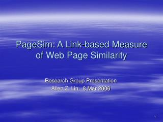 PageSim: A Link-based Measure of Web Page Similarity