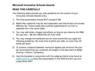 Microsoft Innovative Schools Awards READ THIS CAREFULLY