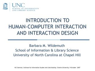INTRODUCTION TO  HUMAN-COMPUTER INTERACTION AND INTERACTION DESIGN