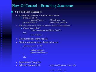 Flow Of Control – Branching Statements