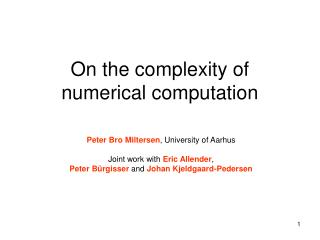 On the complexity of numerical computation