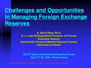 Challenges and Opportunities in Managing Foreign Exchange Reserves