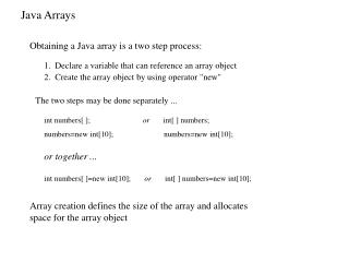 Array creation defines the size of the array and allocates space for the array object