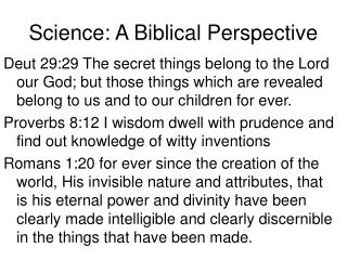 Science: A Biblical Perspective