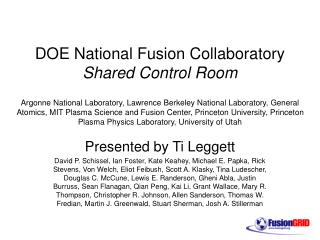 DOE National Fusion Collaboratory Shared Control Room