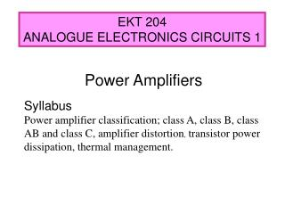 EKT 204 ANALOGUE ELECTRONICS CIRCUITS 1