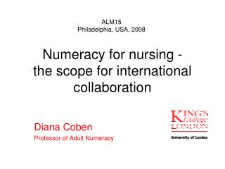 Numeracy for nursing - the scope for international collaboration