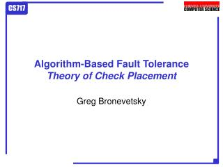 Algorithm-Based Fault Tolerance Theory of Check Placement