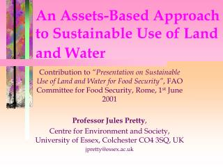 An Assets-Based Approach to Sustainable Use of Land and Water