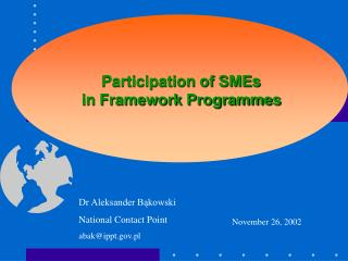 Participation of SMEs  in Framework Programmes
