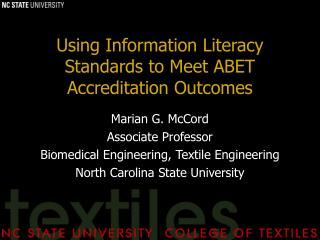Using Information Literacy Standards to Meet ABET Accreditation Outcomes