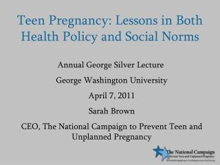 Teen Pregnancy: Lessons in Both Health Policy and Social Norms