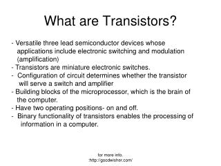 What are Transistors?