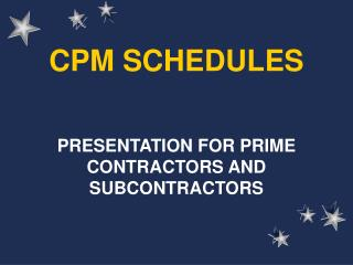 CPM SCHEDULES