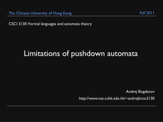 CSCI 3130: Formal languages and automata theory