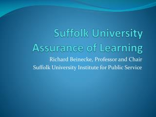 Suffolk University Assurance of Learning