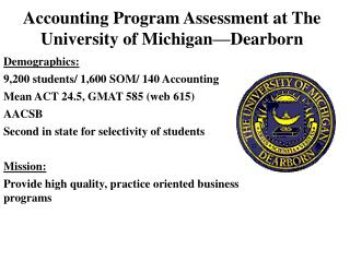 Accounting Program Assessment at The University of Michigan—Dearborn