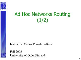 Ad Hoc Networks Routing (1/2)