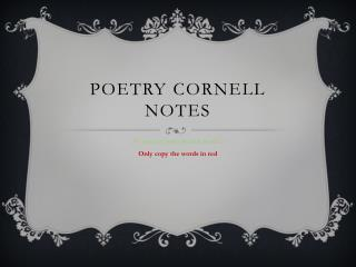 Poetry Cornell Notes