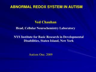 ABNORMAL REDOX SYSTEM IN AUTISM