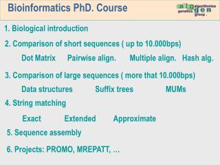 Bioinformatics PhD. Course