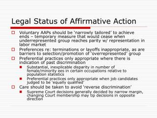 Legal Status of Affirmative Action