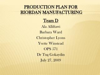riordan production plan paper ops 571 Ops 571 week 4 supply chain design paper for the electric fans and describe the forecasting process to be used at riordan create a sales forecast for electric.