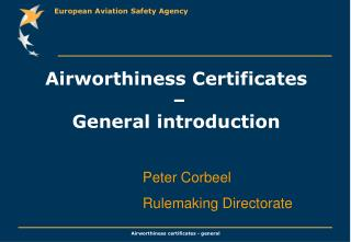 Airworthiness Certificates  –  General introduction