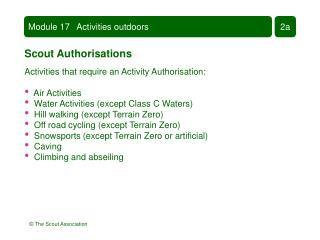 Module 17   Activities outdoors