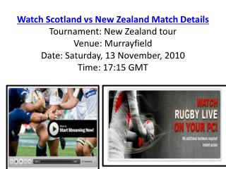 Watch Scotland vs New Zealand Rugby match of New Zealand tou