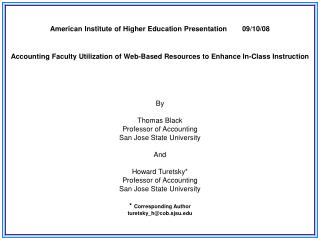 American Institute of Higher Education Presentation	09/10/08