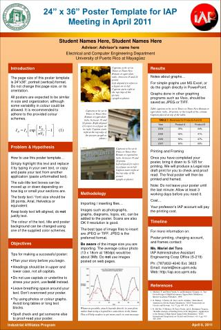 "24"" x 36"" Poster Template for IAP Meeting in April 2011"