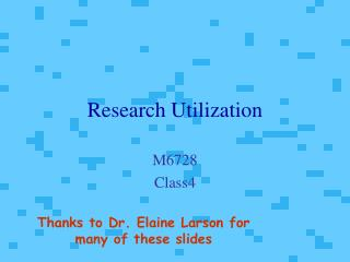 Research Utilization