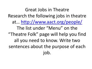Jobs In Theatre